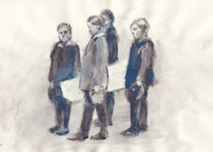 Four Kids Carrying a Coffin