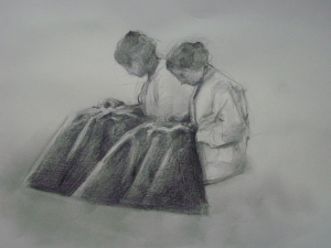 Two Girls Sewing (Study)