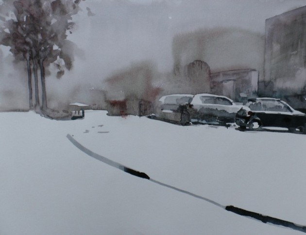 auto's in de sneeuw - goirle - 24012019 (30 x 40)