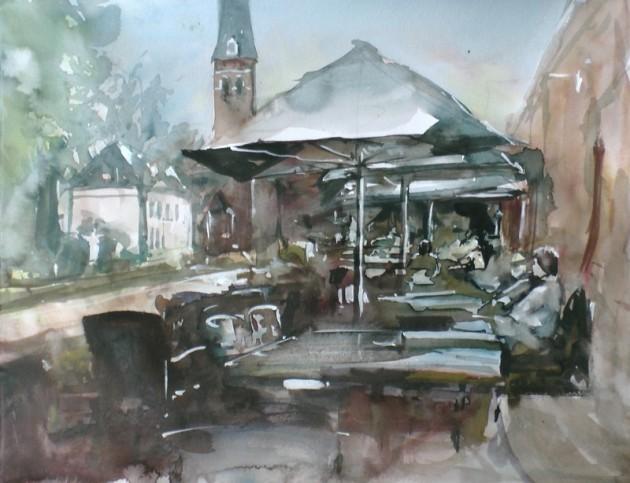 Dorpstraat Riel - Zicht vanaf Den Overkant - 28082019 (30 x 40)