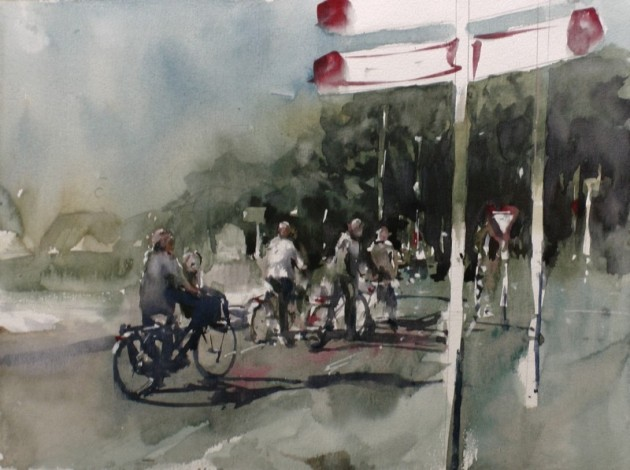 Fietsers op kruispunt Ringbaan Zuid - Tilburg - 17102019 (30 x 40)
