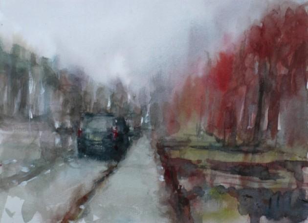 Oerlesestraat in de Mist,Tilburg - 27122019 (30 x 40)